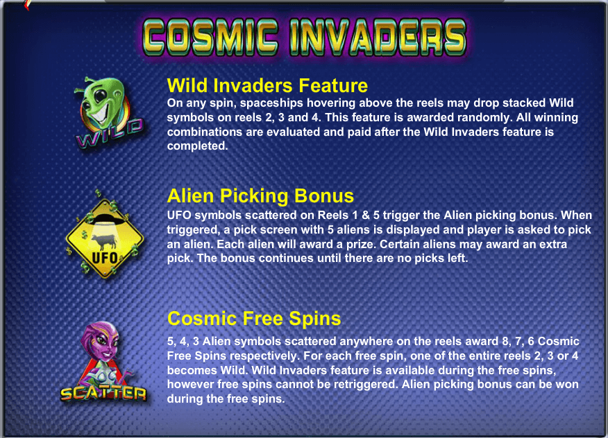 Cosmic Invaders Features