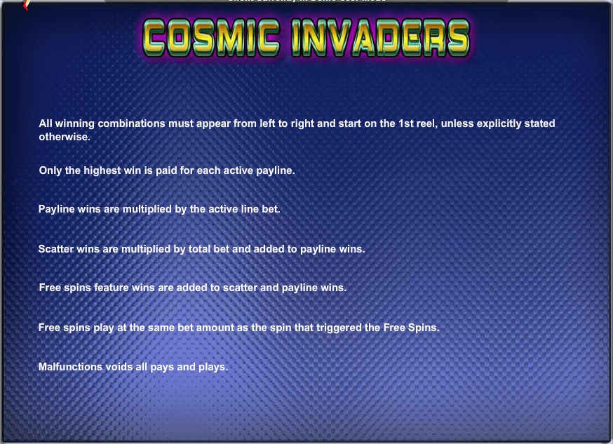 Cosmic Invaders Rules