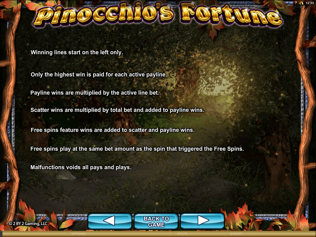 Pinocchio's Fortune Rules