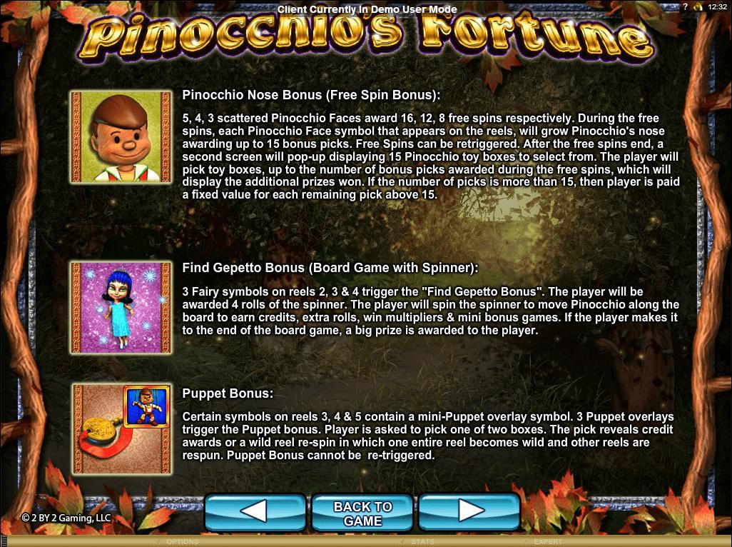 Pinocchio's Fortune Symbols