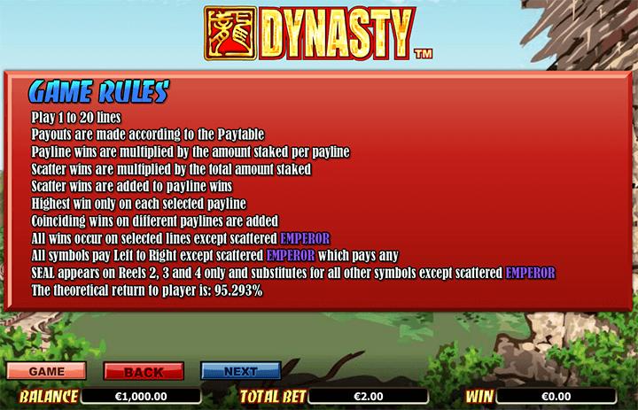 Dynasty Rules