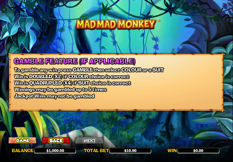 Mad Mad Monkey Gamble Feature