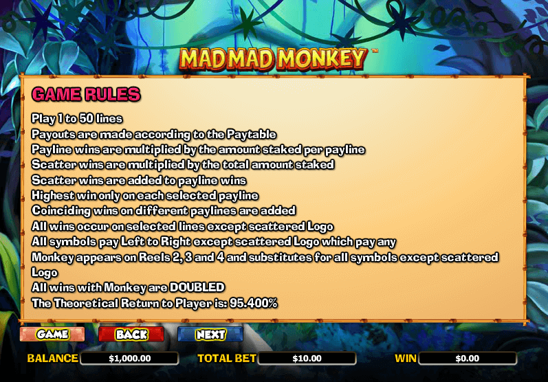 Mad Mad Monkey Game Rules