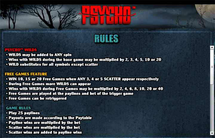 Psycho Pokie Rules