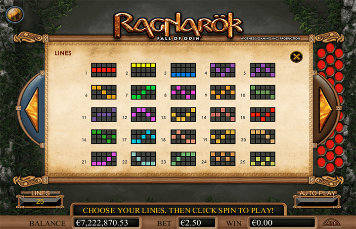 Ragnarok Paytable