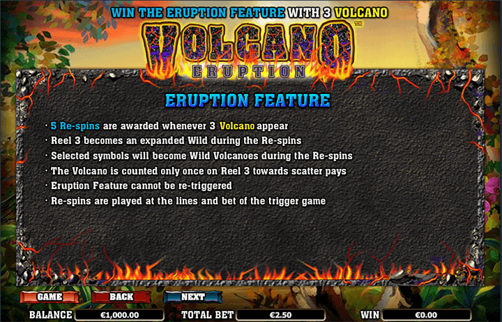 Volcano Eruption Bonus