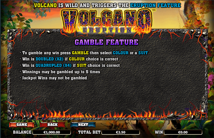 Volcano Eruption Game Features
