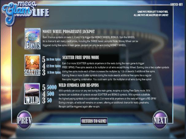 Mega Glam Life Pokie Instructions by Betsoft