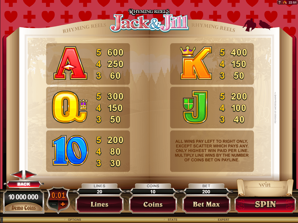 Jack and Jill Paytable 2